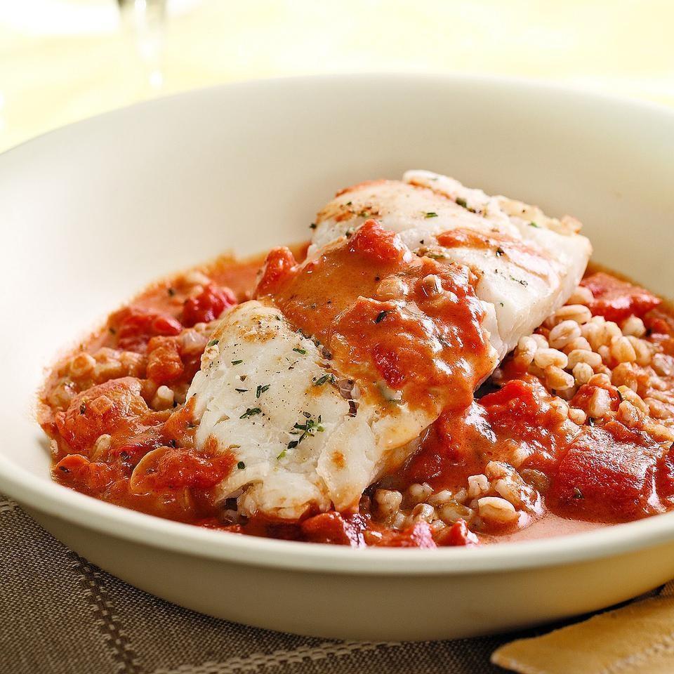 Cod with Tomato Cream Sauce