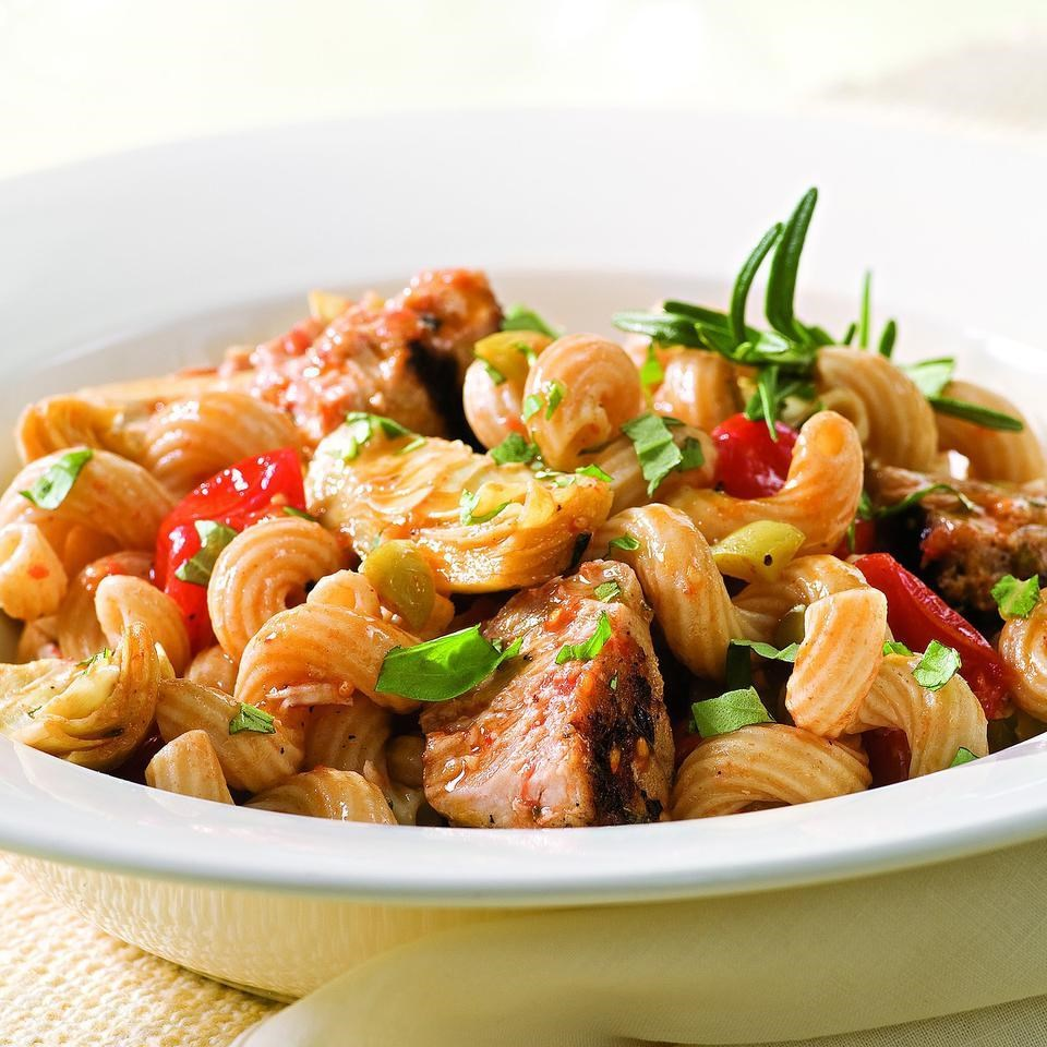Tuna pasta with olives artichokes recipe eatingwell for Tuna fish pasta