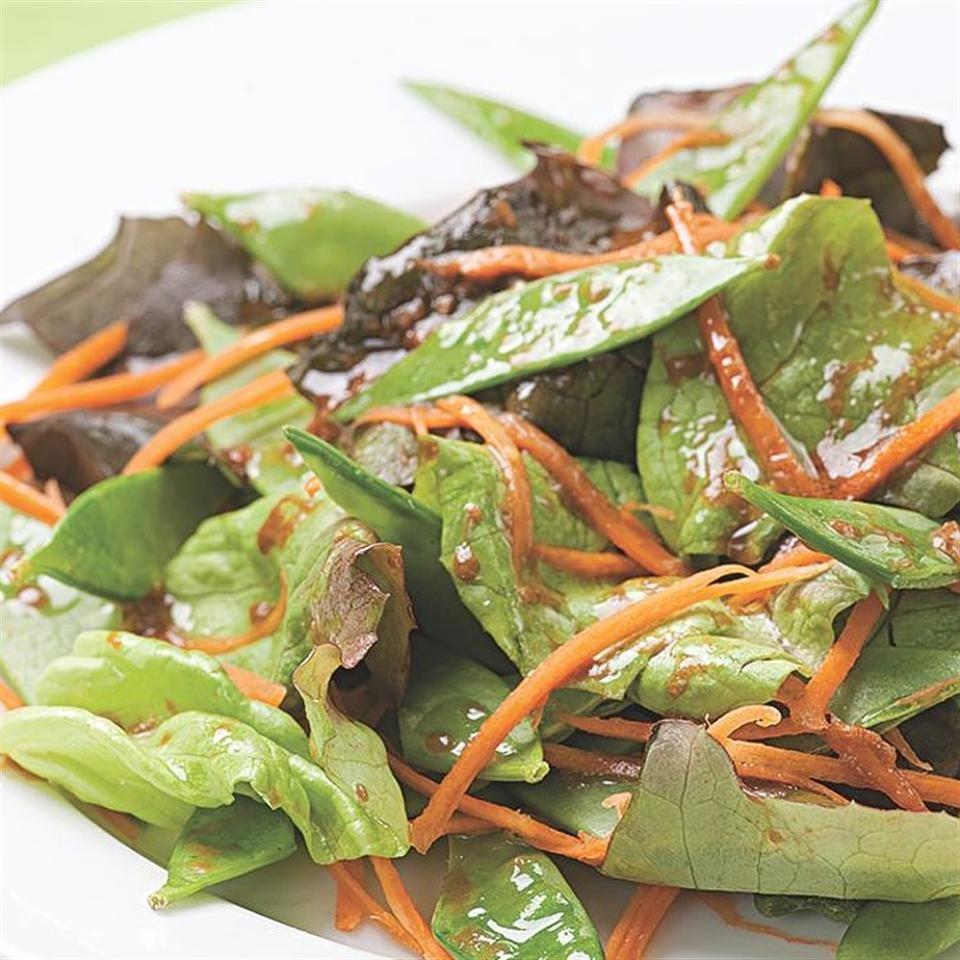 Snow Pea & Carrot Salad with Miso-Tamari Dressing