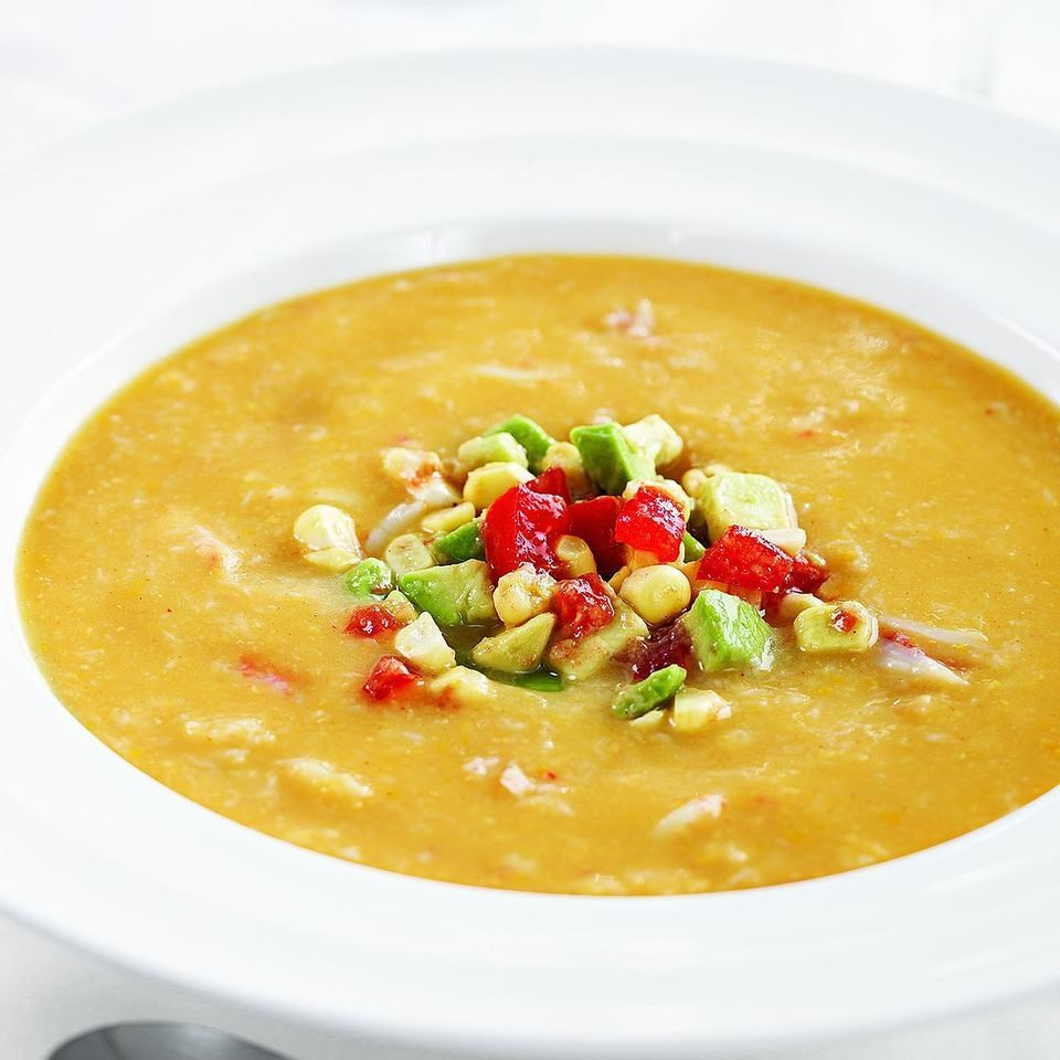 Crab Bisque with Avocado, Tomato & Corn Relish Recipe - EatingWell