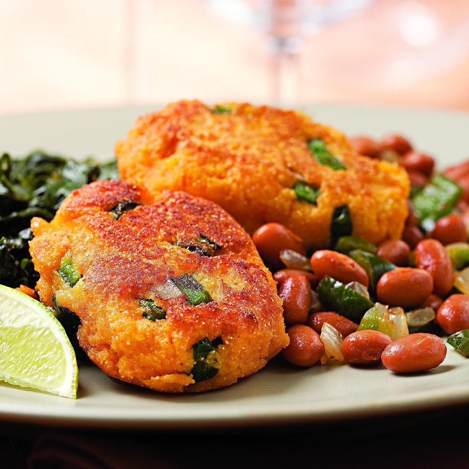 Sweet Potato Fritters With Smoky Pinto Beans Recipe