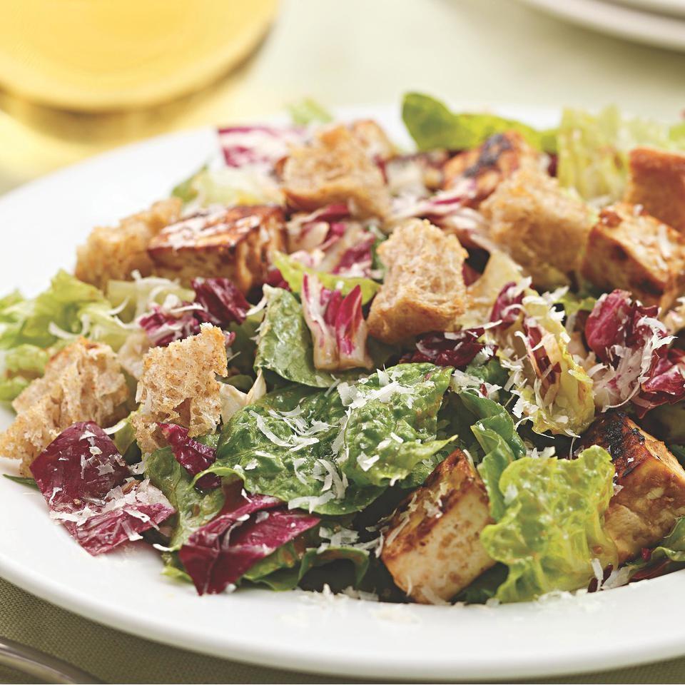 Miso-Garlic-Roasted Tofu Caesar Salad
