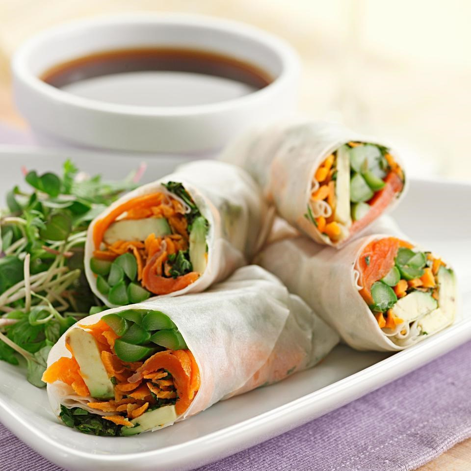Asparagus Amp Salmon Spring Rolls Recipe Eatingwell