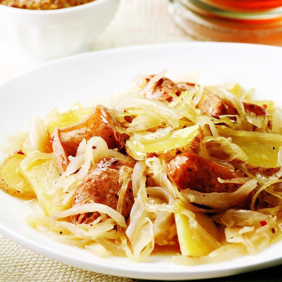 chicken sausage with potatoes amp sauerkraut recipe   eatingwell