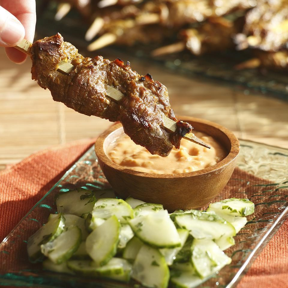 Indonesian Beef Satay with Spicy Peanut Sauce