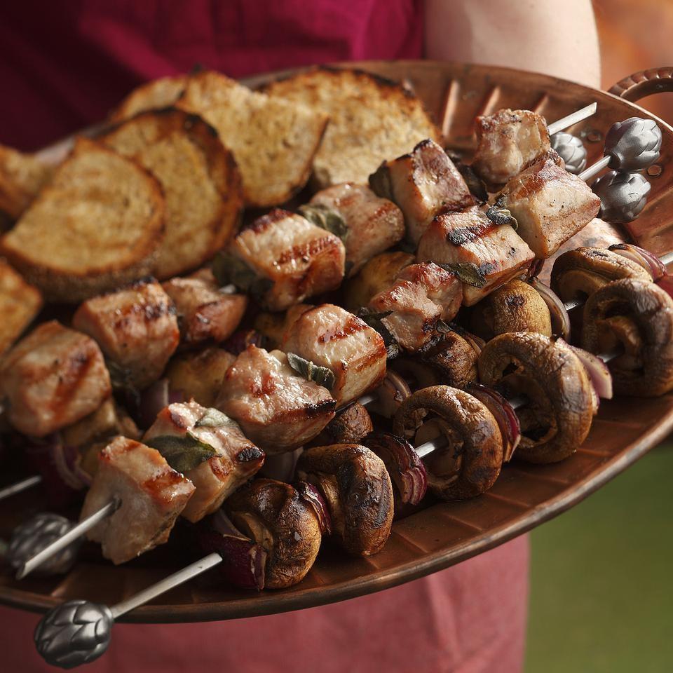 Pork Spedini with Mushrooms & Bruschetta