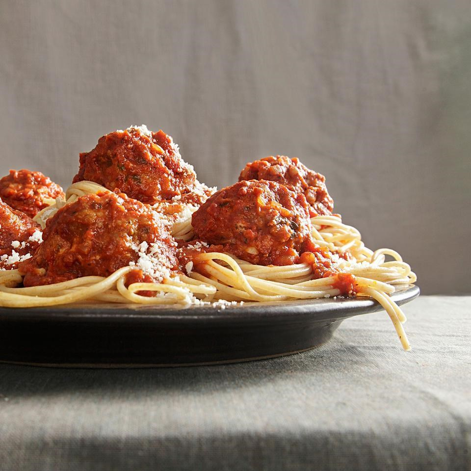 With a combination of 3 meats in a homemade marinara sauce, this meatball recipe, courtesy of Bobby Flay, is full of savory flavor that will put any pasta dish over the top. Oh man, you know a meatball is good when you can get your one-and-a-half year old toddler to devour them. If you put these meatballs on one side of the room, and her prized Winnie the Pooh stuffed animal on the other, I.