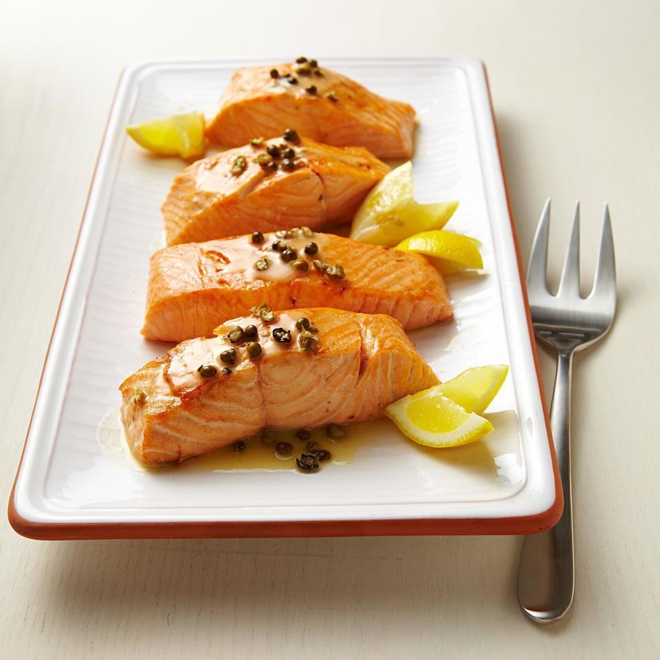 Seared Salmon with Green Peppercorn Sauce for Two