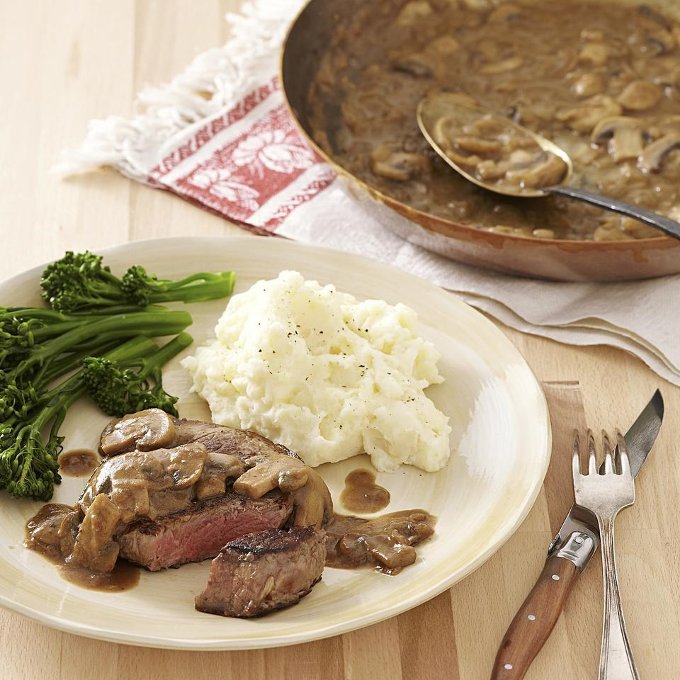 Seared Steak with Mustard-Mushroom Sauce Recipe - EatingWell