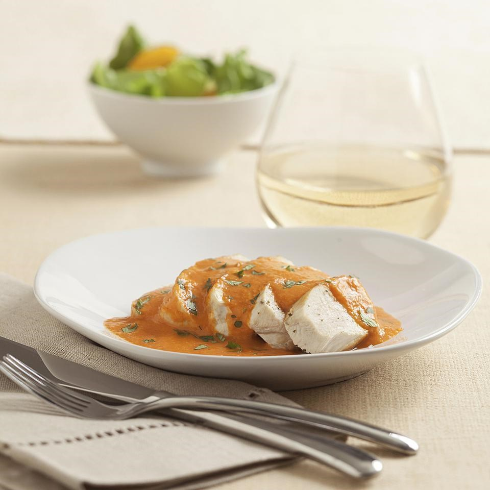 Chicken with red pepper cream sauce recipe eatingwell for Creamy sauce served with fish