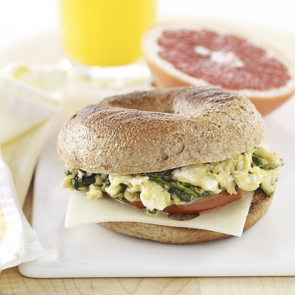 Green Eggs & Ham Bagel Breakfast Sandwich