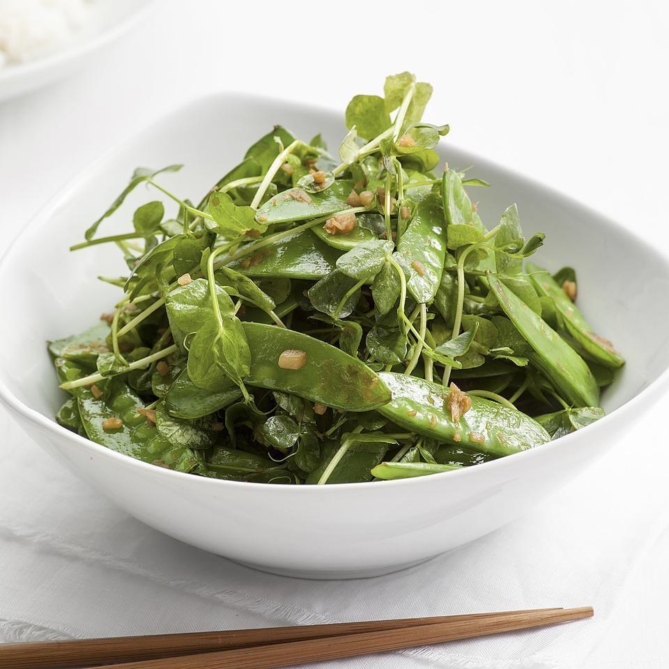 Garlic Stir-Fried Snow Peas & Pea Greens