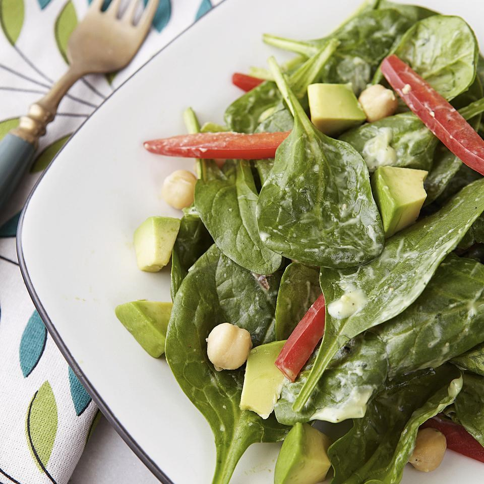 Spinach Salad with Avocado-Ranch Dressing