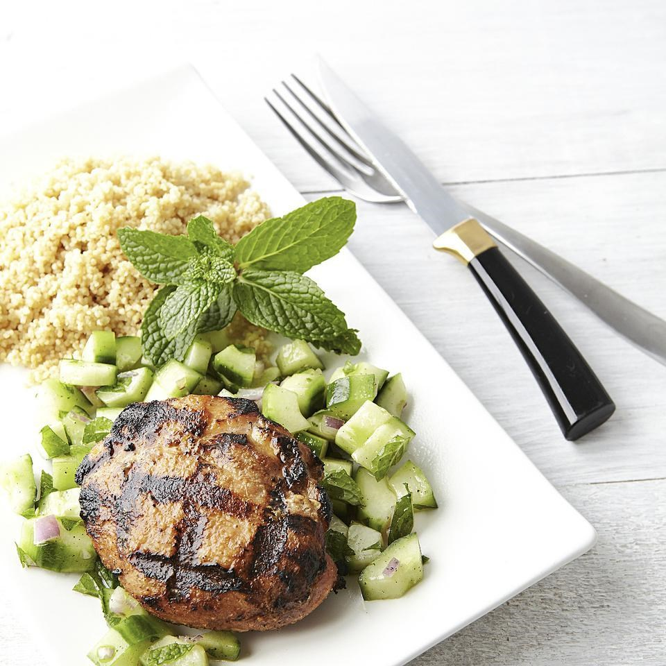 Grilled Chicken Thighs With Cucumber-Mint Salad Recipe
