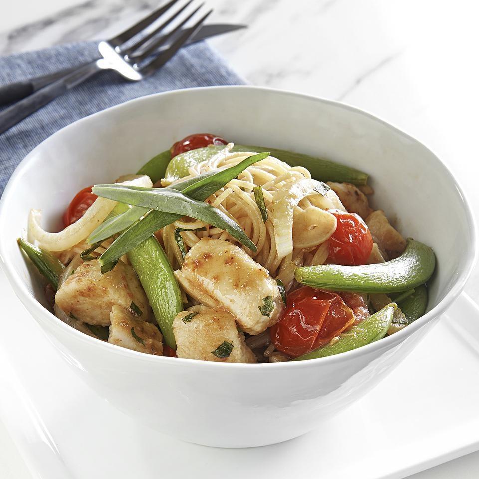 Chicken & Snap Pea Stir-Fry over Angel Hair Pasta