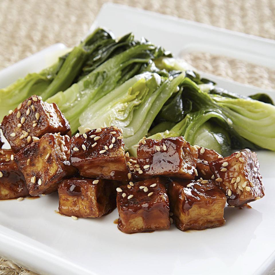 Crispy Glazed Tofu with Bok Choy for Two