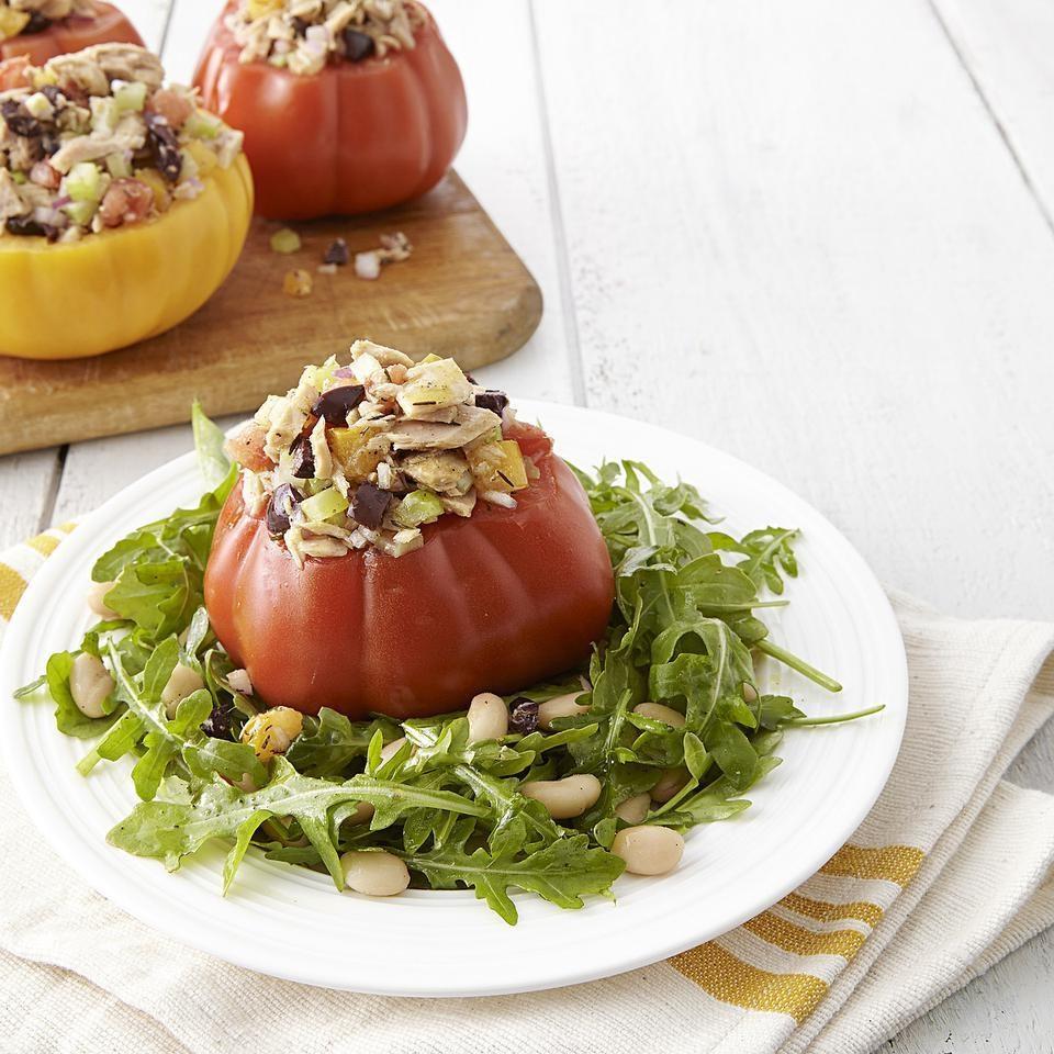 Tuna Salad-Stuffed Tomatoes with Arugula