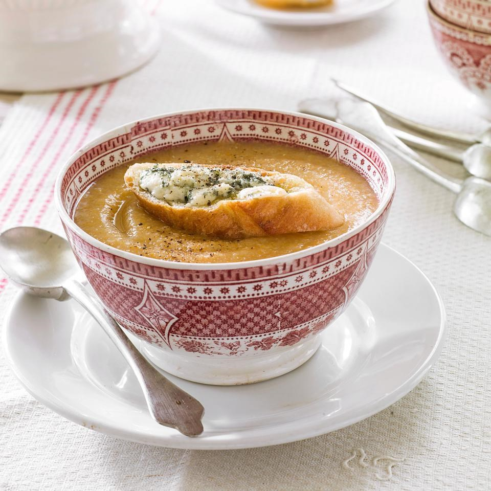 Celeriac & Apple Soup with Blue Cheese Toasts