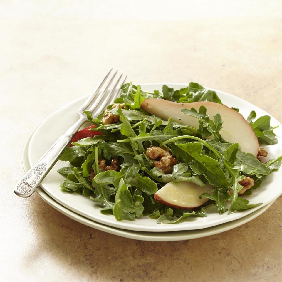 Pear & Arugula Salad with Candied Walnuts