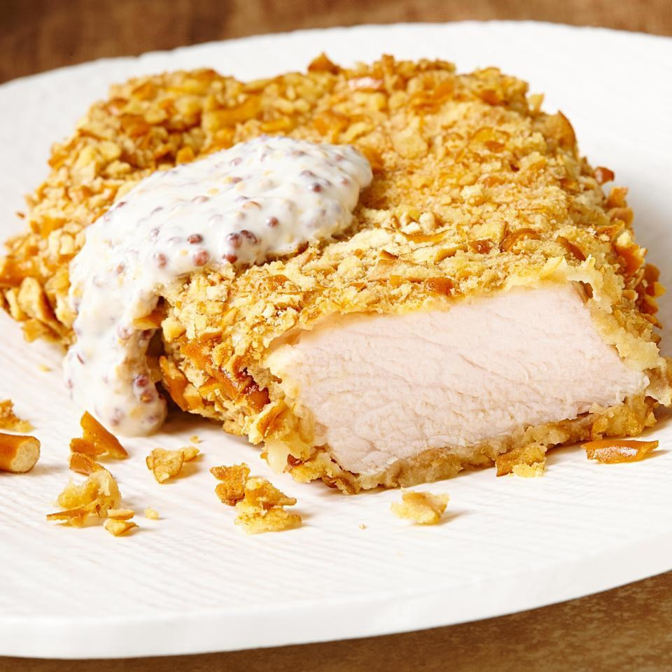 Pretzel-Crusted Pork Cutlets with Mustard Sauce