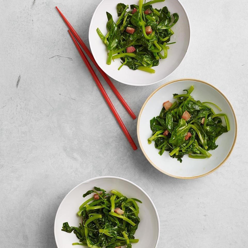 Stir-Fried Snow Pea Shoots with Pancetta