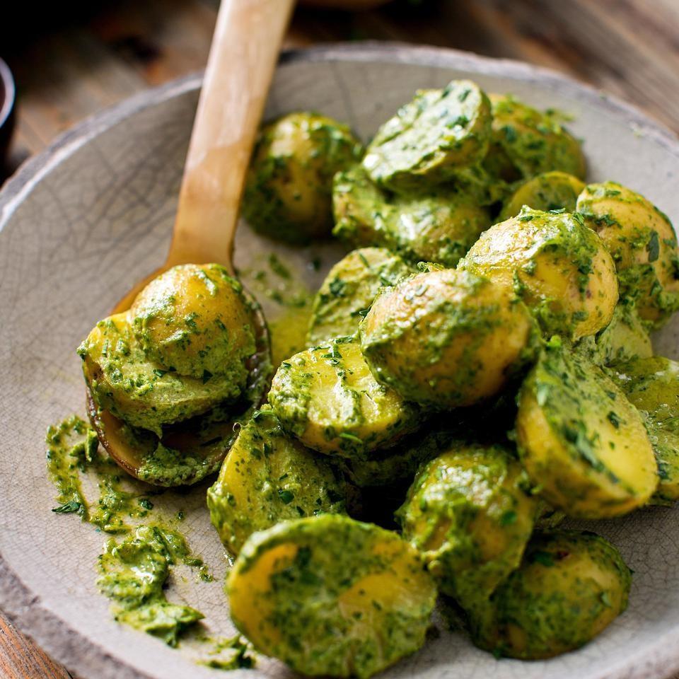 Potatoes with Green Tahini Sauce