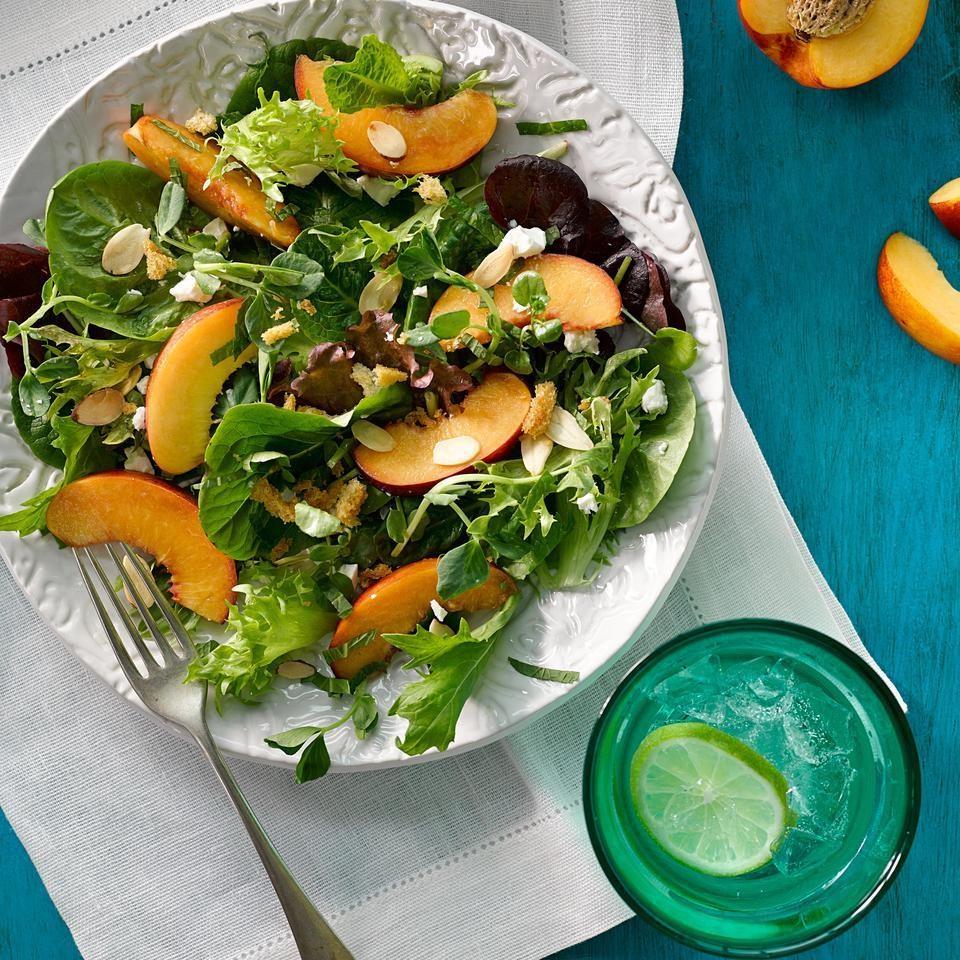Green Salad with Peaches, Feta & Mint Vinaigrette