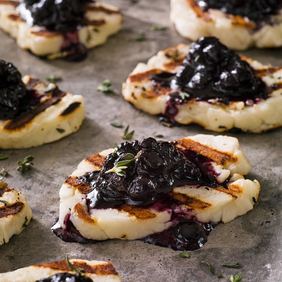 Grilled Halloumi Cheese with Blueberry-Balsamic Jam
