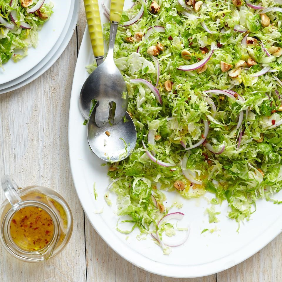 Shaved Brussels Sprouts Salad with Lemon-Chile Vinaigrette & Toasted Hazelnuts