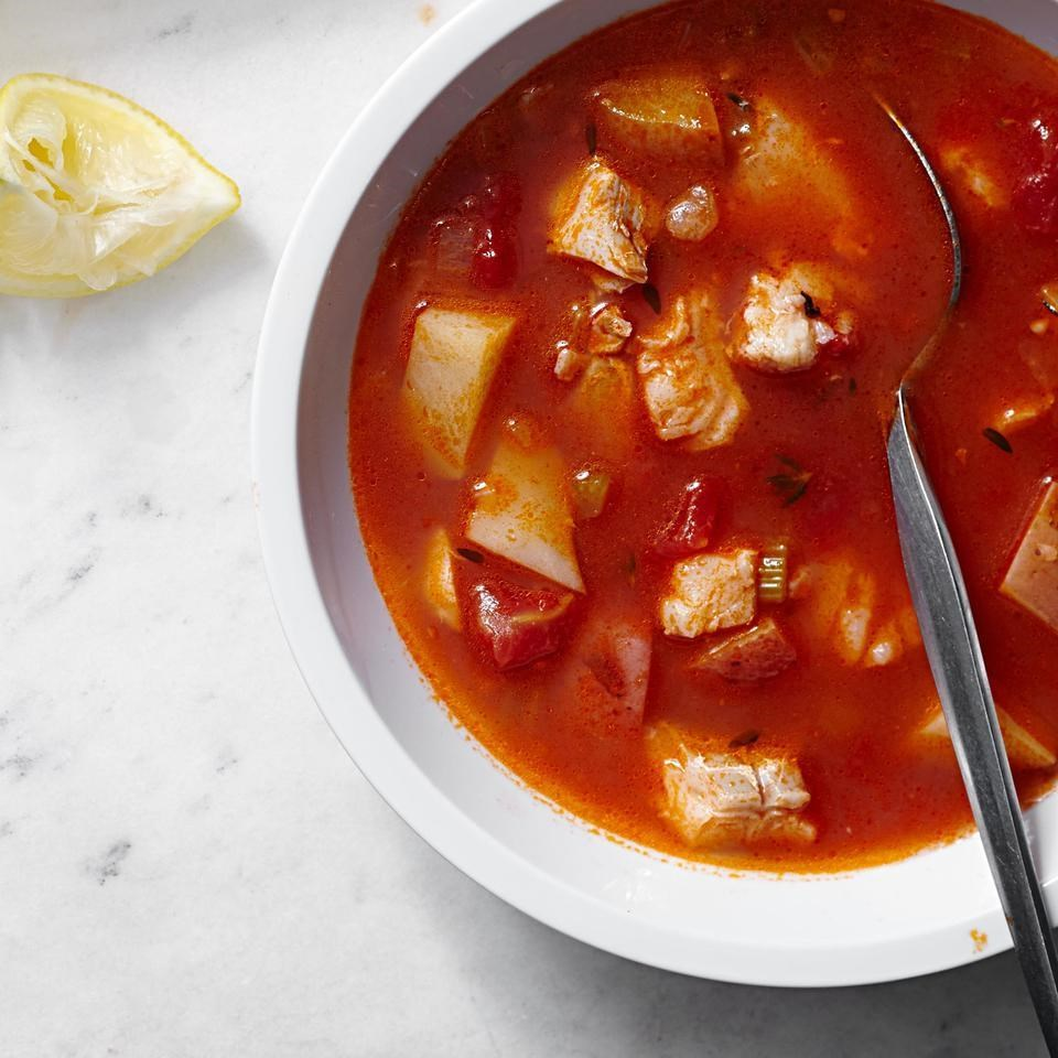 Manhattan cod chowder recipe eatingwell for Fish soup recipe cod