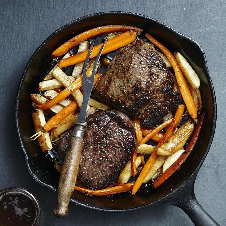 Steak with Glazed Carrots & Turnips