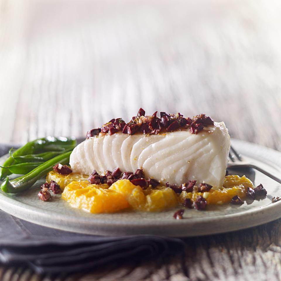 Roasted Halibut with Tangerine & Olive Tapenade