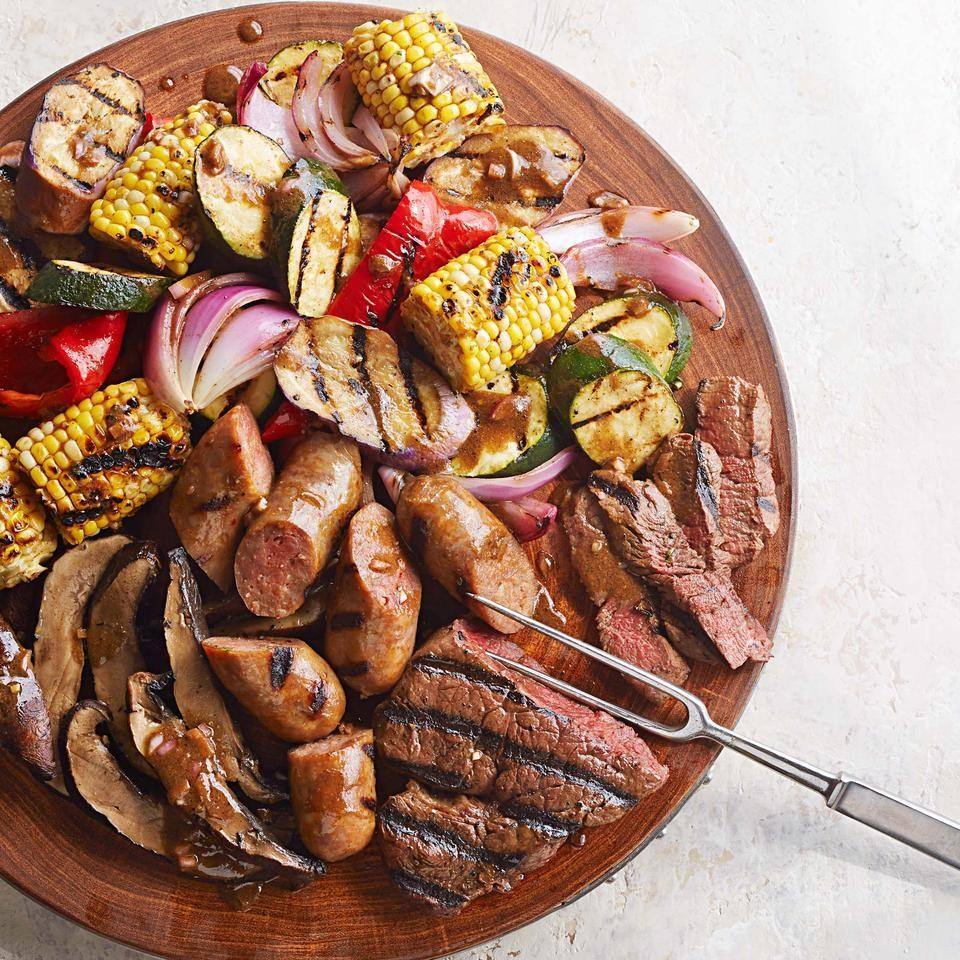 mixed grill with balsamic mustard vegetables recipe eatingwell. Black Bedroom Furniture Sets. Home Design Ideas