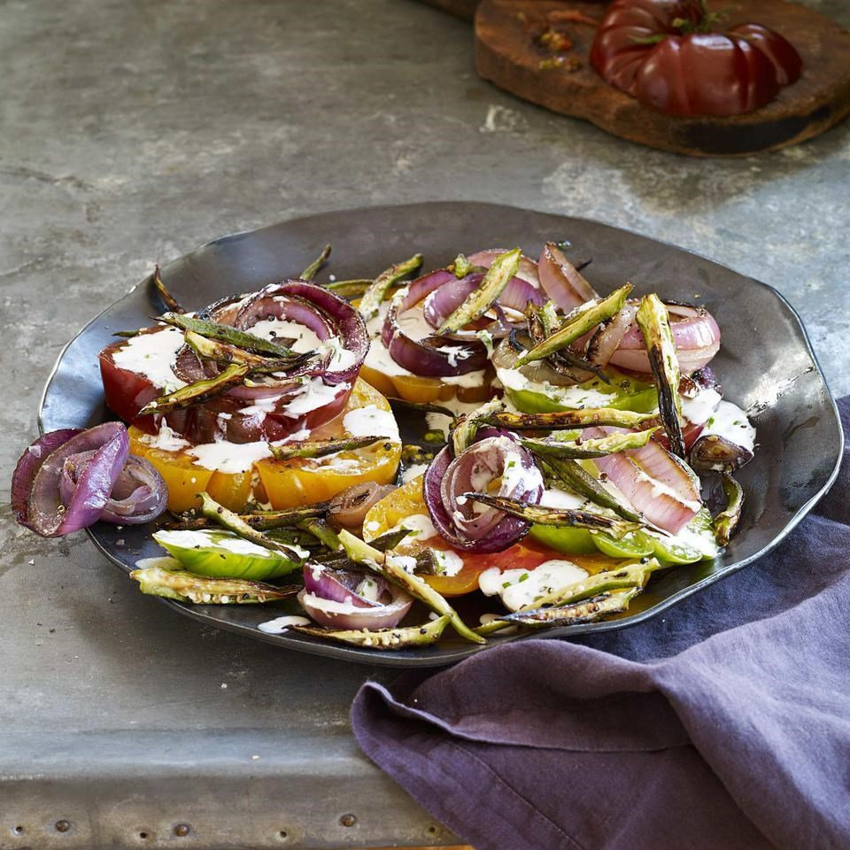 Tomato Salad with Charred Red Onions & Okra Fries