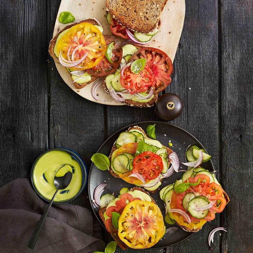 Tomato Sandwiches with Basil-Anchovy Mayo