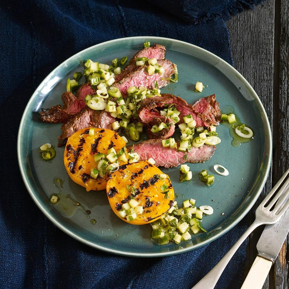Flank Steak with Grilled Tomatoes & Cucumber Herb Relish
