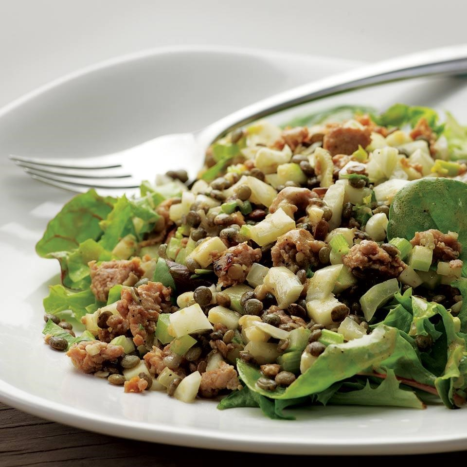 Warm Lentil Salad with Sausage & Apple 7-day diet meal plan to lose weight: 1,200 calories 7-Day Diet Meal Plan to Lose Weight: 1,200 Calories 3859462