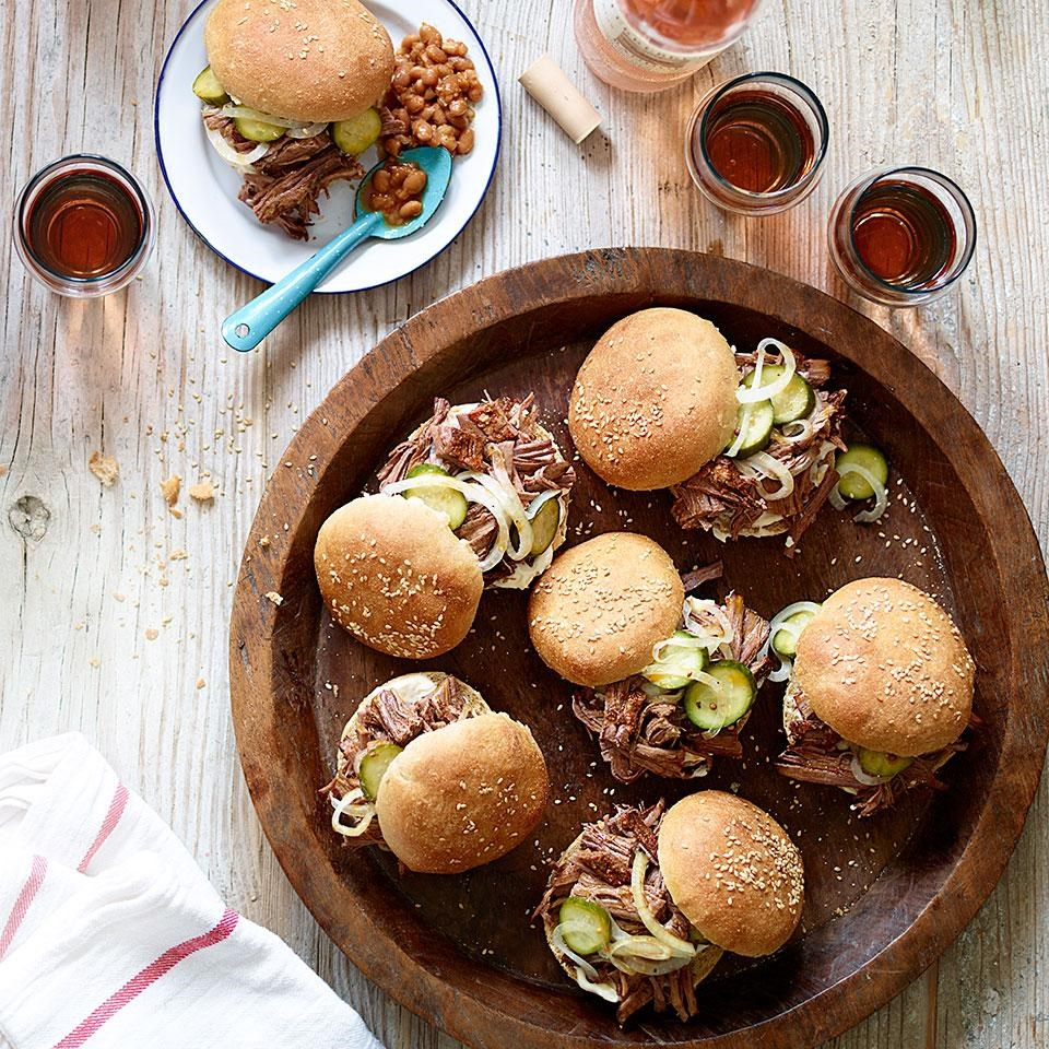 Slow-Cooker Brisket Sandwiches with Quick Pickles