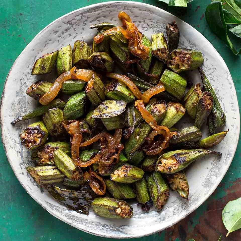 Okra fry bhindi masala recipe eatingwell for Good side dishes to serve with a fish fry