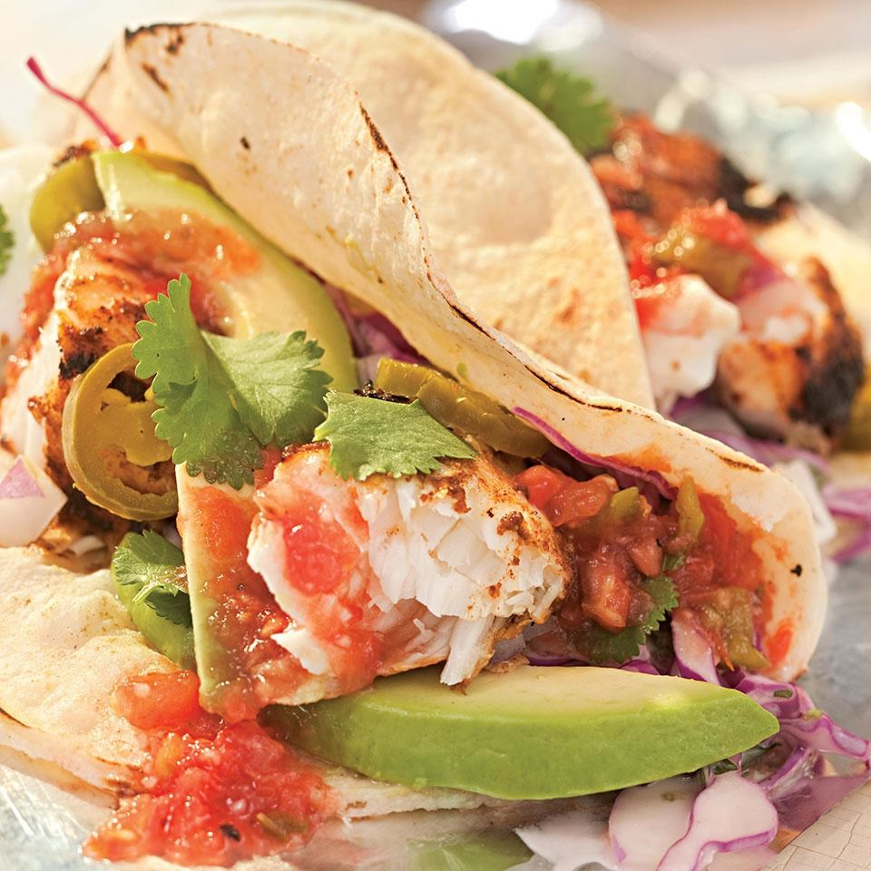 Grilled fish tacos recipe eatingwell for What kind of fish for fish tacos