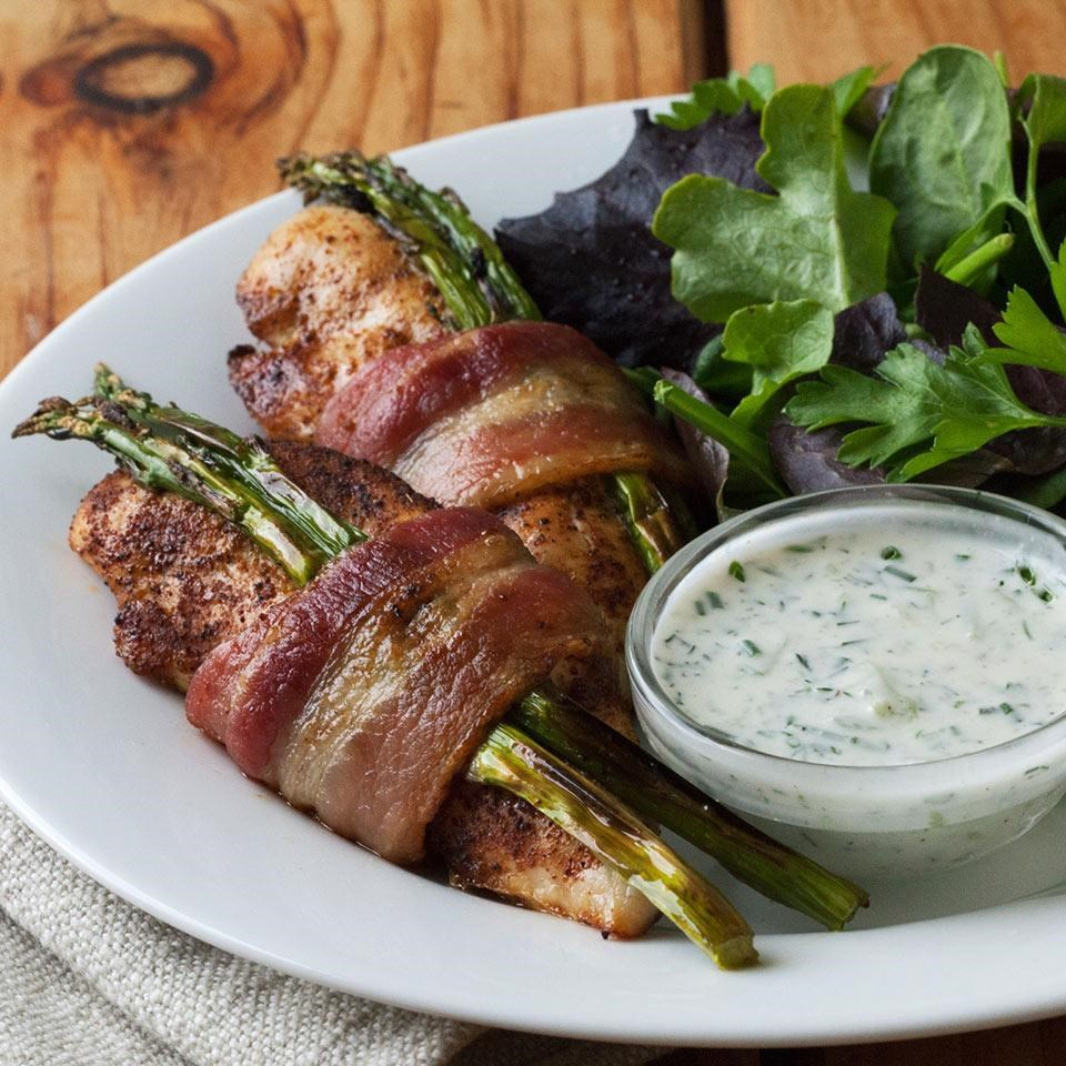 Bacon-Wrapped Chicken Tenders with Cucumber-Ranch Dressing