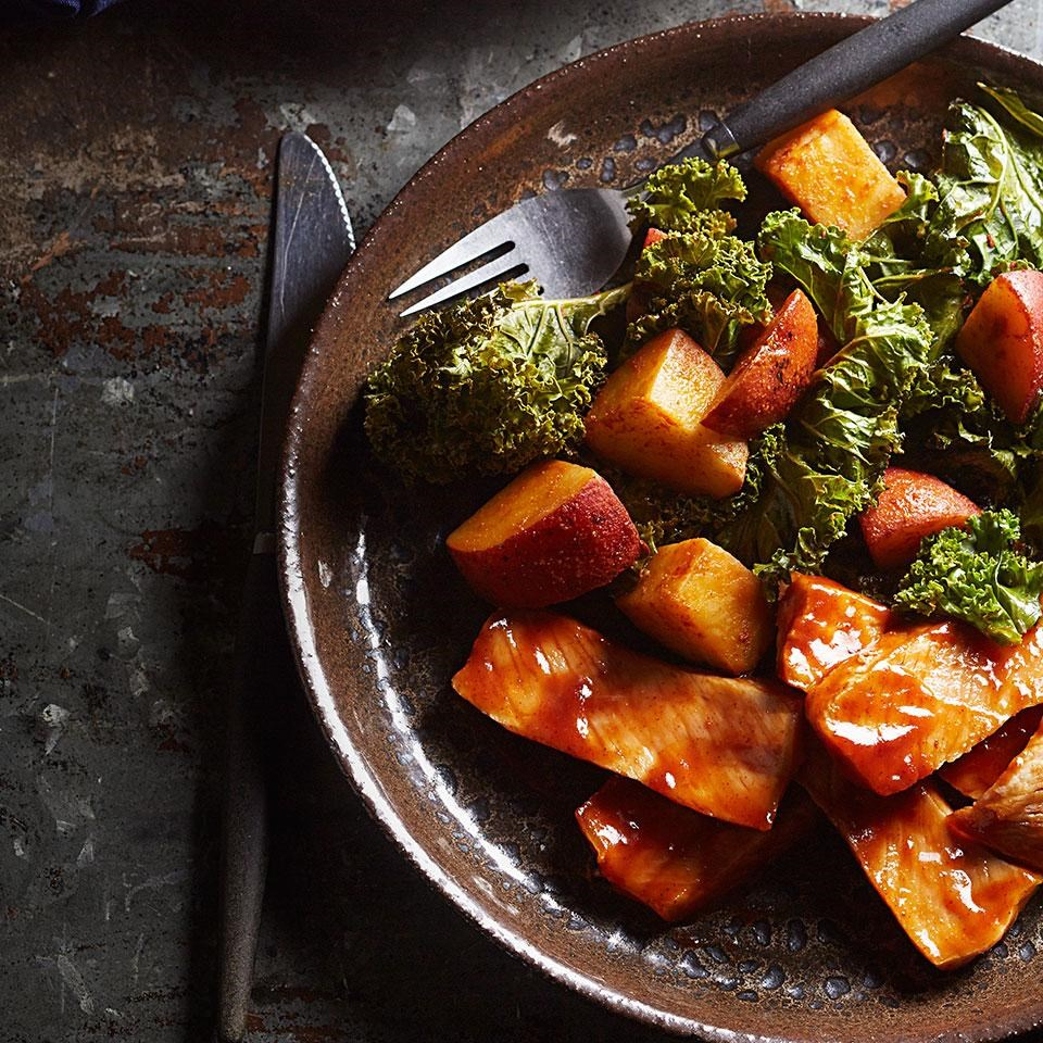 Barbecued Pork Chops with Roasted Potatoes & Kale