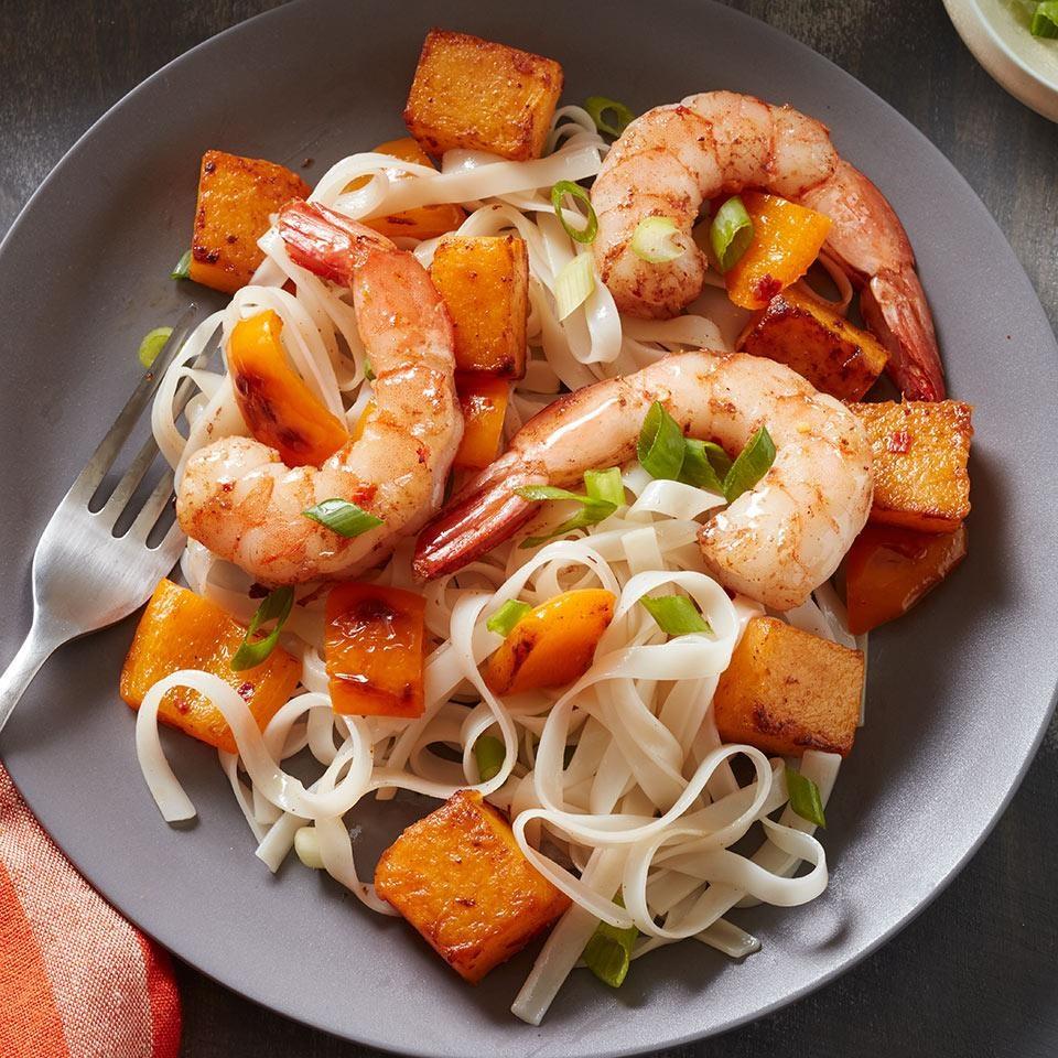 Rice Noodles with Butternut Squash & Five-Spice Shrimp