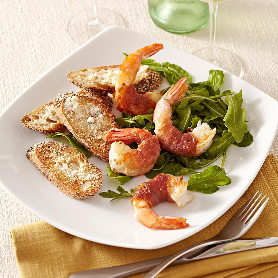 Prosciutto-Wrapped Shrimp with Arugula Salad