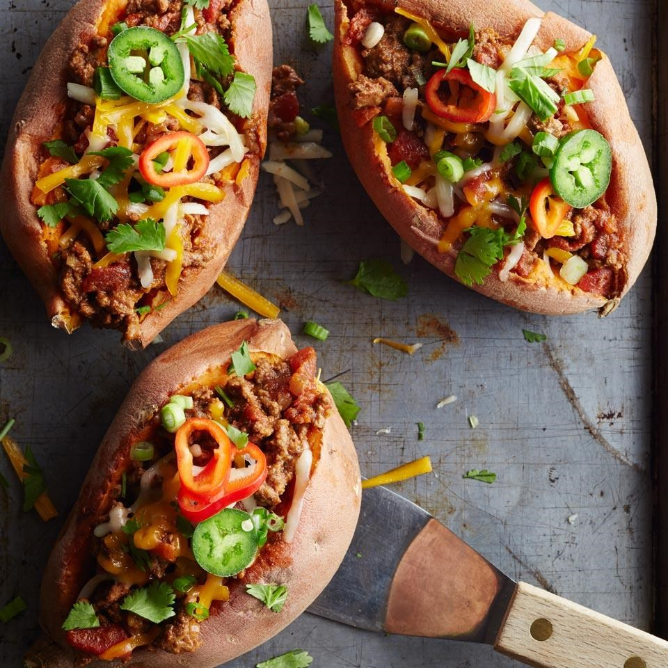 Chili Topped Sweet Potatoes Recipe Eatingwell