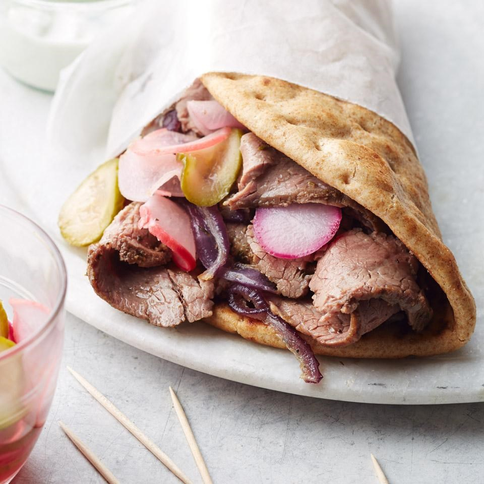 Healthy sandwich recipes eatingwell flank steak gyros with quick pickles forumfinder Images