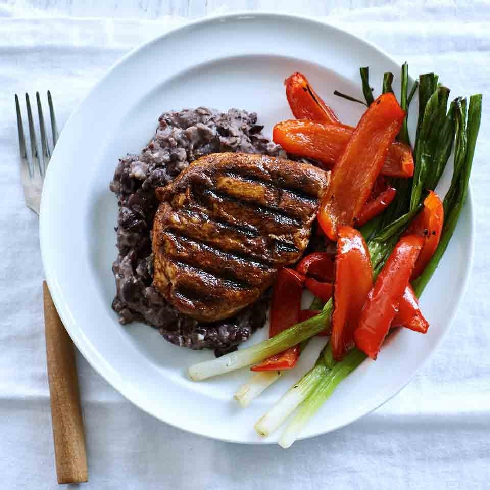 Ancho Chicken Breast with Black Beans, Bell Peppers & Scallions