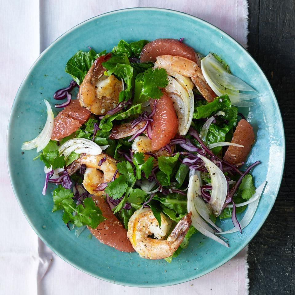 Romaine Salad with Grapefruit & Shrimp