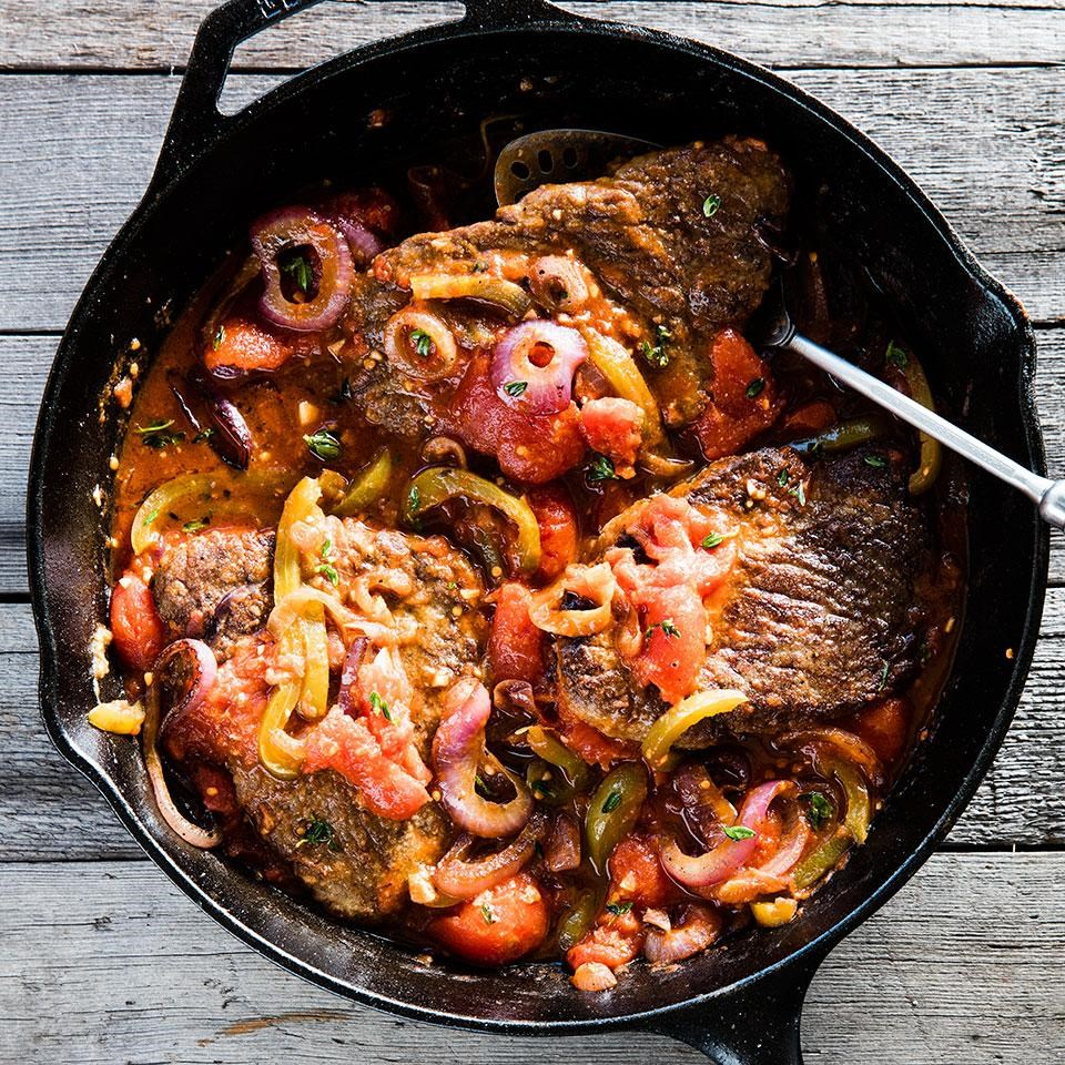 Skillet swiss steak recipe eatingwell skillet swiss steak forumfinder Image collections