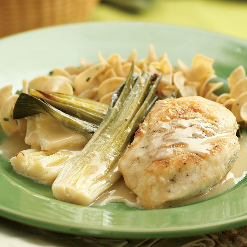 Chicken with Creamy Braised Leeks